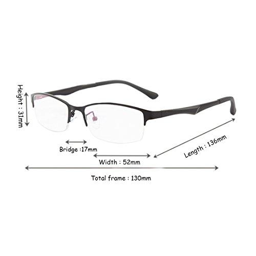 en métal demi résine Mâle lunettes myopes Yefree Noir en lentille trame lunettes mode rétro cadre Femme RqHpnwa