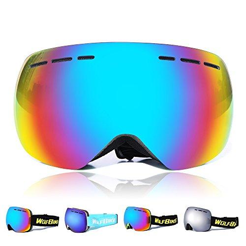 Wolfbike Ski Goggles Anti-Fog Double Lens Big Spherical Skate Snowmobile Snowboard Goggles (Green Frame/Blue Lens)