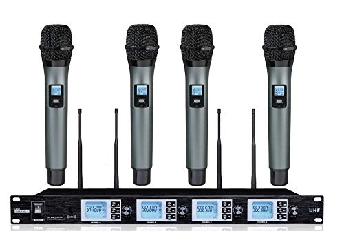 (BOLY 4200S 4 Microphone Wireless System UHF Professional 4 Karaoke Microphone 19