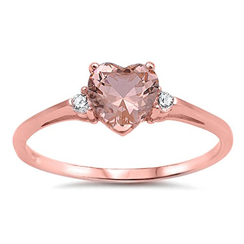 Rose Gold-Tone Champagne Simulated CZ Heart Ring New .925 Sterling Silver Band Size 5