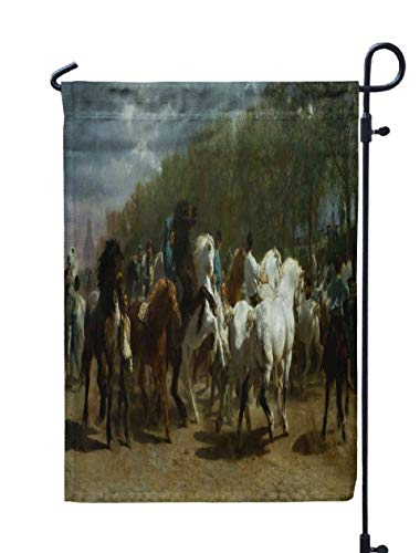 Welcome Garden Flag,Shorping 12x18Inch The Horse Fair by French Painting Oil Canvas The Horse Market in Paris The De Was Painted Over Period for Holiday and Seasonal Double-Sided Printing Yards Flags