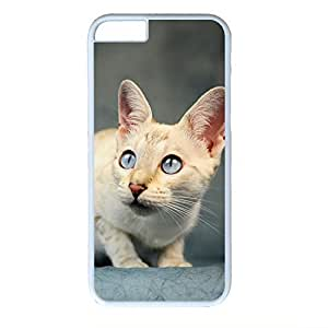 Hard Back Cover Case for iphone 6 Plus,Cool Fashion Art White PC Shell Skin for iphone 6 Plus with Frightened Cat