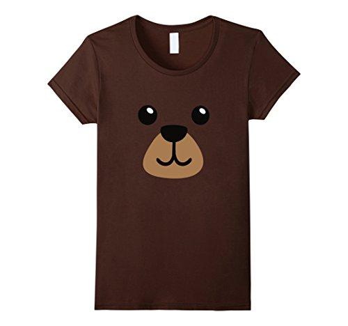 [Womens Teddy Brown Bear Face Costume Tee Shirt - Easy Kid Costumes Small Brown] (Teddy Bear Costume For Women)