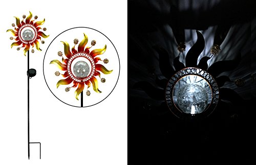 Solar Powered Metal Sunray Garden Stake with White LED Light Mosaic Glass Crackle (White Garden Stake)
