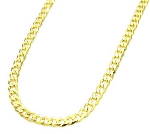 14K Yellow Gold Men's 4.5MM Cuban Bracelets Lobster Clasp, (8) by Jawa Fashion