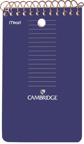 Mead Cambridge 3 x 5-Inch Wirebound Memo Book, Black, 70 sheets, 12 Pack (45755) ()