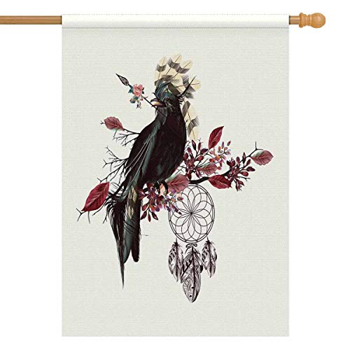 INTERESTPRINT Beautiful Bird Holding Arrow and Dreamcatcher Boho Bohemian House Flag Decorative for Garden and Home Decorations, House Banner 28 x 40 Inches (Without Flagpole) (Boho Birds House Flag)