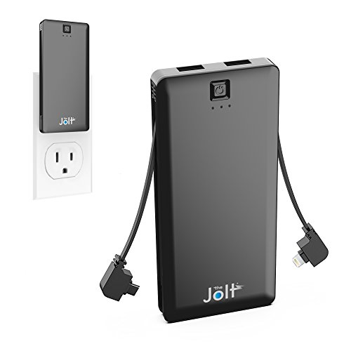 External Portable Power Adapter (5000mAh All in One Portable Charger with Built in Wall Plug AC Adapter, Micro USB and Lightning Cable + 2 USB ports - Jolt Fast Charger, Slim Power Bank, External Battery Charger for Android / iPhone)