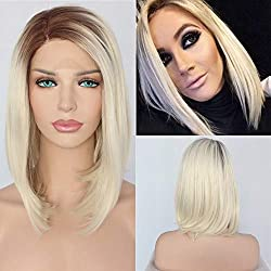 QD-Udreamy Brown Root Blonde Lace Front Wigs Short Bob Glueless Natural Straight Half Hand Tied Heat Resistant Synthetic Hair Replacement Wigs for Women Makeup Wear