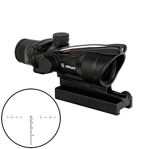 ohhunt 4x32 Hunting RifleScopes Red or Green Illuminated Chevron Glass Etched Reticle Real Fiber Optics Tactical Optical Sights Scope (Click to Select Black Red Illuminated)