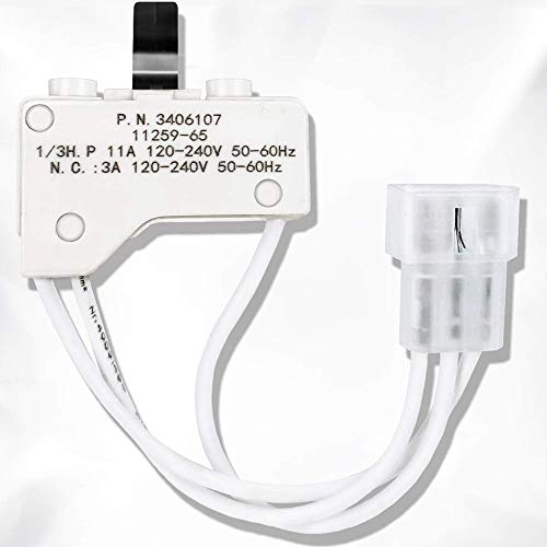 3406107 Dryer Door Switch Kit For Whirlpool Kenmore Sears Maytage Roper Estate Replaces No.3406105, AP3132865, 3405100, 3405101, 3406100, 3406101, 3406109, 528948, AH346704, EA346704, PS346704, AP2976