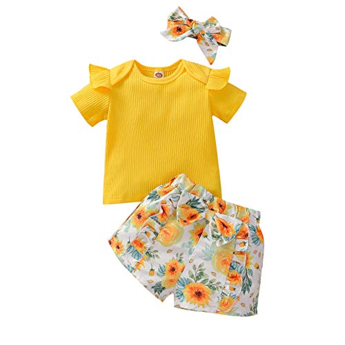Toddler Baby Girl Short Set Ribbed Shirt Ruffle Top Floral Short Pants Headband Outfit Set (Yellow, 12-18 Months, 12_months)