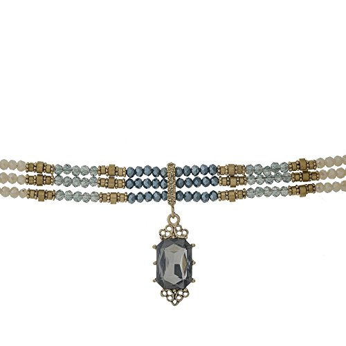 Focal Faceted Bead - Gold tone choker with navy, gray and iridescent green beads and a faceted gray stone focal