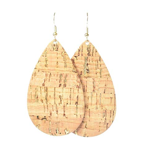 """Natural Cork with Gold Bonded to Genuine Leather"" (Classic Large Teardrop Earrings) by Laguna LeatherWear."