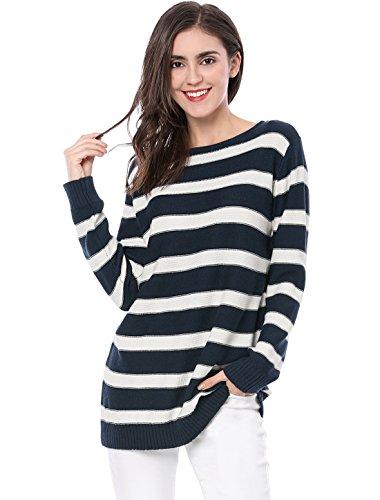 Allegra K Women's Round Neck Drop Shoulder Tunic Striped Sweater Blue M (US 10) ()