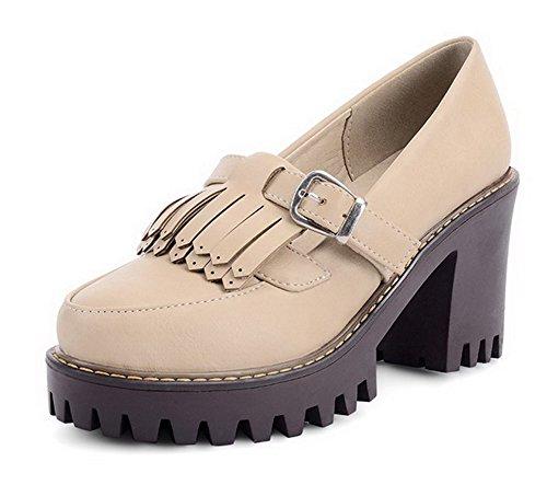 VogueZone009 Damen Weiches Material Rund Zehe Hoher Absatz Ziehen auf Rein Pumps Schuhe Cremefarben