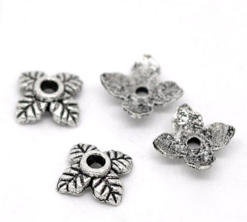 Housweety 350Pcs Silver Tone 4Petal Leaves Beads End Caps (Silver Leaf Bead)