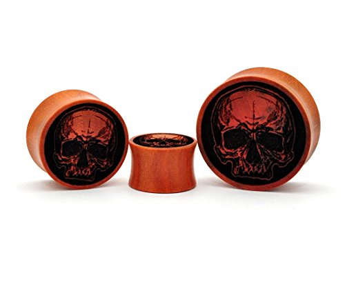 - Laser Engraved Saba Wood Skull Plugs (PW-249) - Sold as a Pair (5/8
