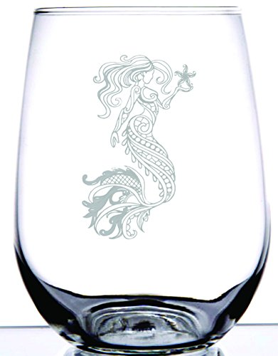 IE Laserware Mystical Mermaid Beautifully Laser Etched Engraved Wine Glass, 17 Ounce Stemless Wine Glass