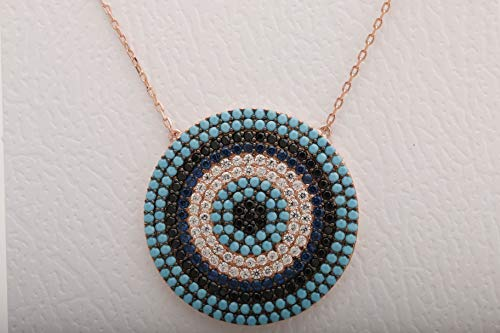 - Evil Eye Protection Design Turkish Nazar Handmade Good Luck 925 Sterling Silver Round Cut Turquoise Black Onyx Sapphire White Topaz Rose Gold Necklace