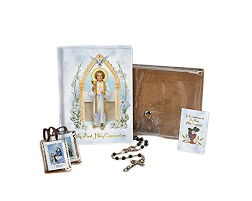 Jesus Pure and Holy First Communion Wallet Set with Mass Book, Scapular, Rosary, and Lapel Pin (Black (Boy)) (Pin First Jesus)
