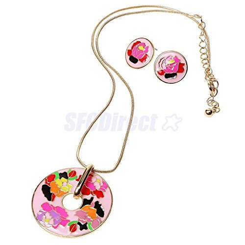 2 Gold Plated Colorful Enameled Flower Pendant Necklace and Earrings Jewelry (Enameled Flower Necklace Earrings)