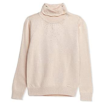 Tobybear Beige High Neck Hoodie & Sweatshirt For Girls