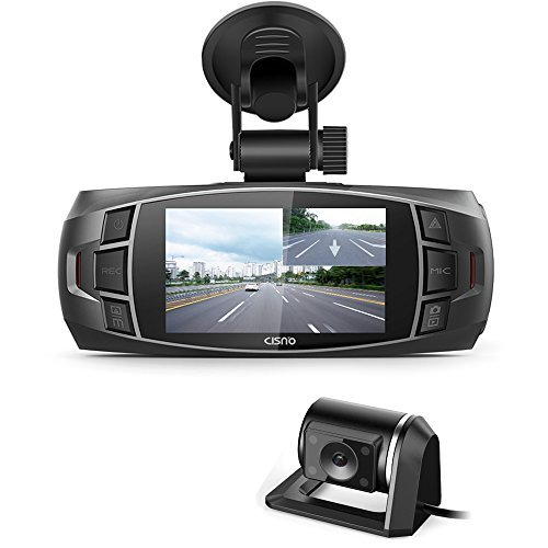 "CISNO Dashboard Dash Cam Front and Rear Dual Camera, Car DVR Recorder, Full HD 1080P, WDR 2.7"" LCD 170 Degree Video-Z4 Plus"