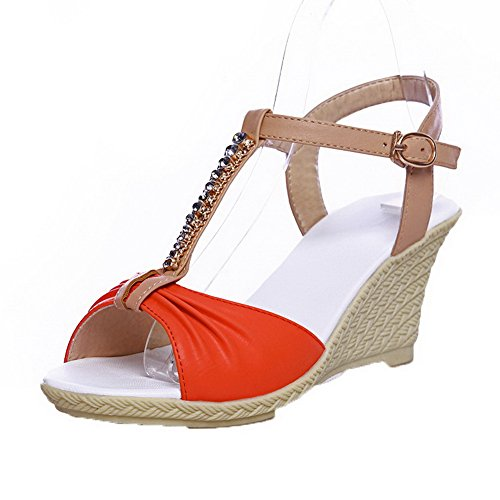 WeiPoot Buckle Assorted High Heels Open Women's Color Sandals EGHLG004934 Toe Orange Pu rqwrfY