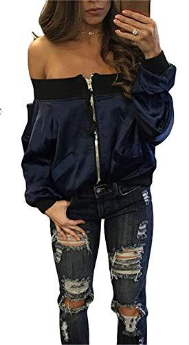 Moda Donna Giaccone Con Cerniera Fashion Giubbotto Della Impermeabile Bomber Blau Elegante Ragazza Giacche Giacca Collo Pieghe Maniche Barca Autunno Corto Primaverile Monocromo E4AEqd