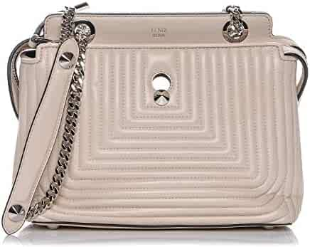 c63b74bacd25 Fendi Dotcom Click Beige Caramel Small Quilted Lambskin Leather Chain Satchel  Bag Silver Hardware 8BN299