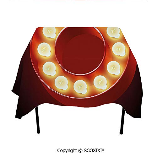 SCOXIXI Pub Tablecloth Washable Polyester Fabric,Entertainment World in Vegas Theme Vintage Casino Nightclub Theater Typeset,W55XL55 Inches