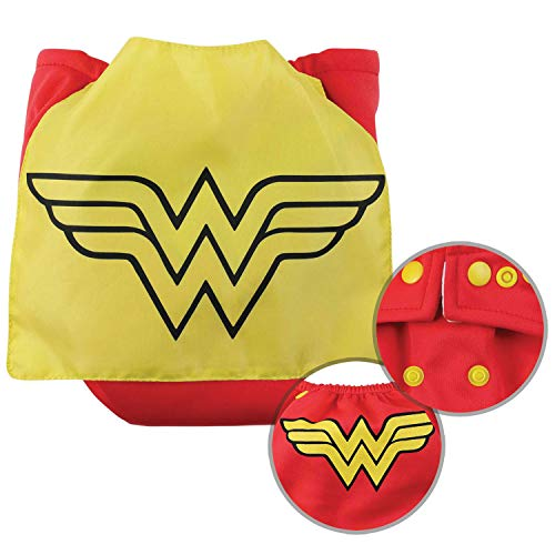 Bumkins Cloth Diaper Snap All-In-One (AIO) or Pocket with Cape, 7-28lbs, DC Comics Wonder Woman Deluxe All In One Diaper