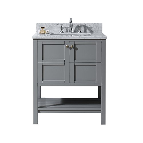 Virtu USA ES-30030-WMSQ-GR-NM Not Applicable Winterfell 30 inch single Bathroom Vanity In Grey with Marble Top & Square Sink