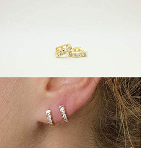 (Original Sterling Gold Color Baguette Cubic Mini Circle U Delicate Ear Women Clip On Earring (Platinum Plated))
