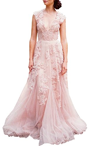 ASA Bridal Women's Vintage Cap Sleeve Lace A Line Wedding Dresses Bridal Gowns Pink 20W