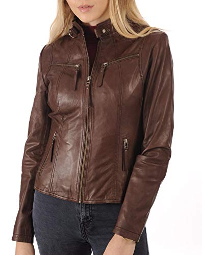 LEATHER FARM Women's Lambskin Leather Bomber Biker Jacket (X-Small, Brown)