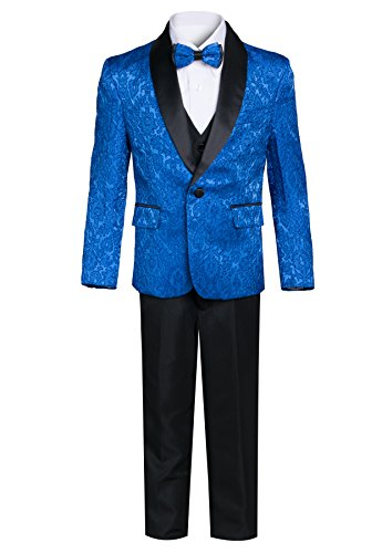King Formal Wear Boys Premium Paisley Patterned Shawl Lapel Tuxedos - Many Colors (8, Royal Blue with Black)