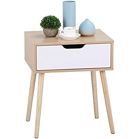 Yaheetech White Brown Walnut Side End Table Nightstand With Storage Drawer Solid Wood Legs Living Room Furniture