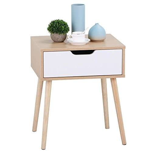 Yaheetech White/Brown Walnut Side End Table Nightstand with Storage Drawer Solid Wood Legs Living Room Furniture 22.6''H ()