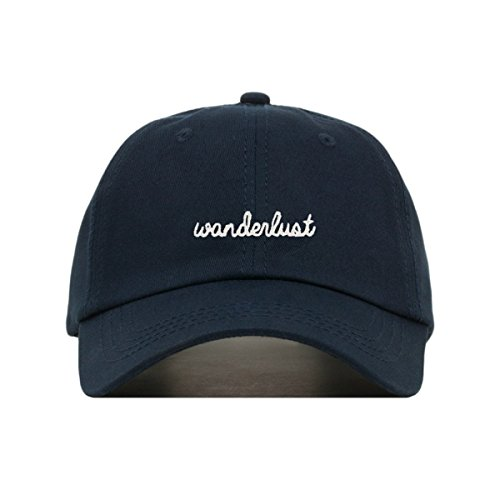 Wanderlust Dad Hat, Embroidered Baseball Cap, 100% Cotton, Unstructured Low Profile, Adjustable Strap Back, 6 Panel, One Size Fits Most (Multiple Colors) (Navy) ()