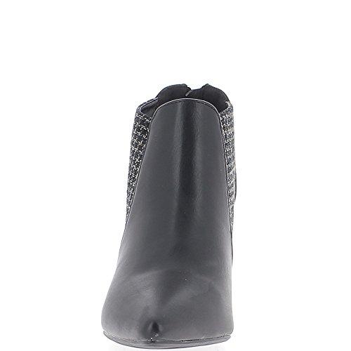 Bottines basses noires à talon fin de 8,5cm pointues avec tweed