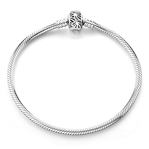 Long Way Bracelet,925 Sterling Silver Basic Charm Bracelet Snake Chain Fine Jewelry for Women, Best Christmas Birthday Gift for Mother Wife Girlfriend (Silver 8.7inches) ()