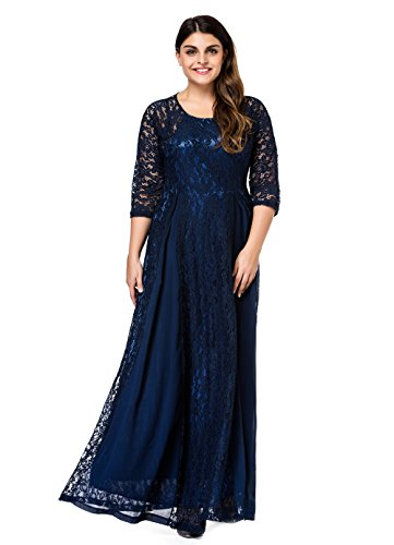 Plus Size Evening Dresses (ESPRLIA Women's Plus Size Floral Lace 3/4 Sleeve Wedding Maxi Dress (3X, Blue))