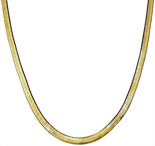 Wearable Art by Roman Gold Tone Herringbone Chain Necklace Gold Tone