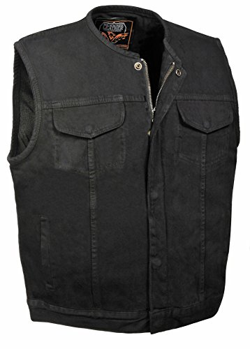 Milwaukee Leather Men's Collarless Denim Club Style Vest w/Hidden Zipper (Black, ()