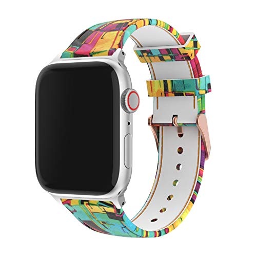 Amawell Floral Bands Compatible with A pp le Watch 38mm 42mm 40mm 44mm,Soft Silicone Pattern Printed Band Replacement Wrist Strap Compatible iWatch Series 4/3/2/1 for Women/Men (Pattern-6, 38mm/40mm)
