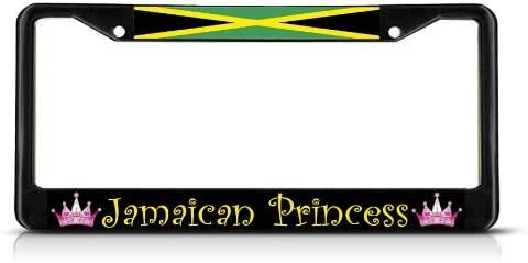 JAMAICA JAMAICAN PRINCESS Black Heavy Duty Metal License Plate Frame Tag Border