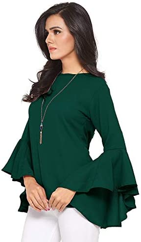 81e5cc8cd80 Sabhyata : The Ethnic Valley Women's Polyester Bell Sleeve Top (Olive Green,  ...