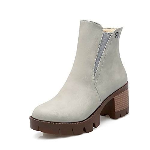 Allhqfashion Women's Round Closed Toe Low Top Kitten Heels Solid Pu Boots Gray